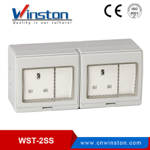WST-2SS Wall Mounted IP55 2 Gang Switch 2 Gang Sockets