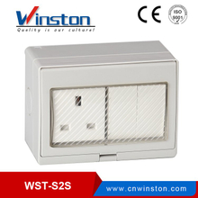 WST-S2S Waterproof 13A 2Gang Switch 1Gang Socket For Bathroom